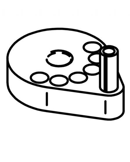 Platte mit Stift zur Justierung der Handgriffe